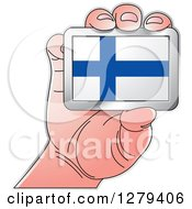Clipart Of A Caucasian Hand Holding A Finland Flag Royalty Free Vector Illustration