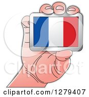 Clipart Of A Caucasian Hand Holding A French Flag Royalty Free Vector Illustration