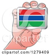 Clipart Of A Caucasian Hand Holding A Gambian Flag Royalty Free Vector Illustration