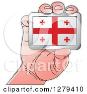Clipart Of A Caucasian Hand Holding A Georgian Flag Royalty Free Vector Illustration