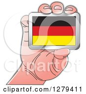 Clipart Of A Caucasian Hand Holding A German Flag Royalty Free Vector Illustration