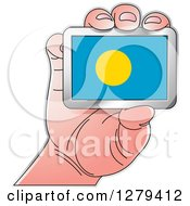Clipart Of A Caucasian Hand Holding A Palau Flag Royalty Free Vector Illustration