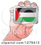 Clipart Of A Caucasian Hand Holding A Palestine Flag Royalty Free Vector Illustration