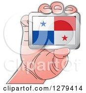 Clipart Of A Caucasian Hand Holding A Panama Flag Royalty Free Vector Illustration