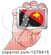 Clipart Of A Caucasian Hand Holding A Papua New Guinea Flag Royalty Free Vector Illustration