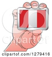 Clipart Of A Caucasian Hand Holding A Peru Flag Royalty Free Vector Illustration
