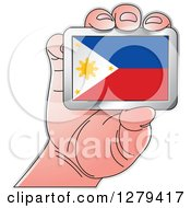 Clipart Of A Caucasian Hand Holding A Philippines Flag Royalty Free Vector Illustration