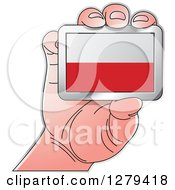 Clipart Of A Caucasian Hand Holding A Poland Flag Royalty Free Vector Illustration