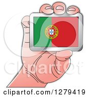 Clipart Of A Caucasian Hand Holding A Portugal Flag Royalty Free Vector Illustration