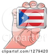 Clipart Of A Caucasian Hand Holding A Puerto Rican Flag Royalty Free Vector Illustration