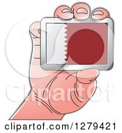 Clipart Of A Caucasian Hand Holding A Quatar Flag Royalty Free Vector Illustration