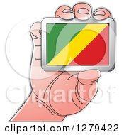 Clipart Of A Caucasian Hand Holding A Republic Of The Congo Flag Royalty Free Vector Illustration