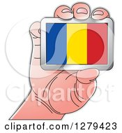 Clipart Of A Caucasian Hand Holding A Romania Flag Royalty Free Vector Illustration