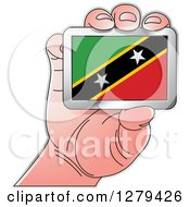 Clipart Of A Caucasian Hand Holding A Saint Kitts And Nevis Flag Royalty Free Vector Illustration