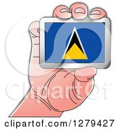 Clipart Of A Caucasian Hand Holding A Saint Lucia Flag Royalty Free Vector Illustration