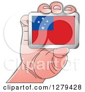 Clipart Of A Caucasian Hand Holding A Samoa Flag Royalty Free Vector Illustration by Lal Perera