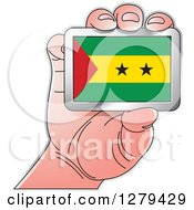 Clipart Of A Caucasian Hand Holding A Sao Tome And Principe Flag Royalty Free Vector Illustration