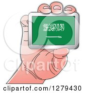Clipart Of A Caucasian Hand Holding A Saudi Arabia Flag Royalty Free Vector Illustration