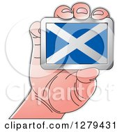 Clipart Of A Caucasian Hand Holding A Scotland Flag Royalty Free Vector Illustration