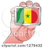 Clipart Of A Caucasian Hand Holding A Senegal Flag Royalty Free Vector Illustration