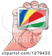 Clipart Of A Caucasian Hand Holding A Seychelles Flag Royalty Free Vector Illustration