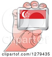 Clipart Of A Caucasian Hand Holding A Singapore Flag Royalty Free Vector Illustration