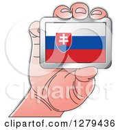 Clipart Of A Caucasian Hand Holding A Slovakia Flag Royalty Free Vector Illustration