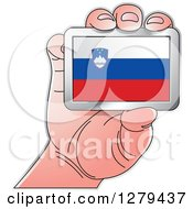 Clipart Of A Caucasian Hand Holding A Slovenia Flag Royalty Free Vector Illustration
