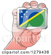 Clipart Of A Caucasian Hand Holding A Solomon Island Flag Royalty Free Vector Illustration