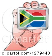 Clipart Of A Caucasian Hand Holding A South Africa Flag Royalty Free Vector Illustration