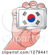 Clipart Of A Caucasian Hand Holding A South Korean Flag Royalty Free Vector Illustration