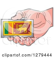 Clipart Of A Caucasian Hand Holding A Small Sri Lanka Flag Royalty Free Vector Illustration