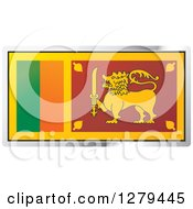 Clipart Of A Sri Lanka Flag And Silver Frame Icon Royalty Free Vector Illustration