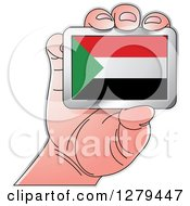 Clipart Of A Caucasian Hand Holding A Sudan Flag Royalty Free Vector Illustration