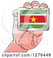 Clipart Of A Caucasian Hand Holding A Suriname Flag Royalty Free Vector Illustration