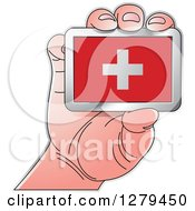 Clipart Of A Caucasian Hand Holding A Switzerland Flag Royalty Free Vector Illustration