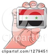 Clipart Of A Caucasian Hand Holding A Syria Flag Royalty Free Vector Illustration
