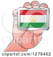 Clipart Of A Caucasian Hand Holding A Tajikistan Flag Royalty Free Vector Illustration