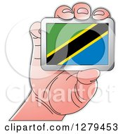Clipart Of A Caucasian Hand Holding A Tanzania Flag Royalty Free Vector Illustration