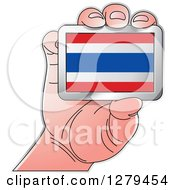 Clipart Of A Caucasian Hand Holding A Thailand Flag Royalty Free Vector Illustration