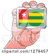 Clipart Of A Caucasian Hand Holding A Togo Flag Royalty Free Vector Illustration