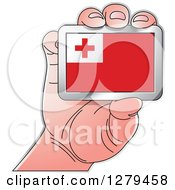 Clipart Of A Caucasian Hand Holding A Tonga Flag Royalty Free Vector Illustration