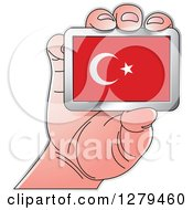 Clipart Of A Caucasian Hand Holding A Turkey Flag Royalty Free Vector Illustration