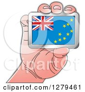 Clipart Of A Caucasian Hand Holding A Tuvalu Flag Royalty Free Vector Illustration