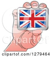 Clipart Of A Caucasian Hand Holding A UK Flag Royalty Free Vector Illustration