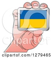 Clipart Of A Caucasian Hand Holding A Ukraine Flag Royalty Free Vector Illustration