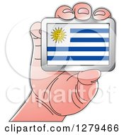 Clipart Of A Caucasian Hand Holding A Uruguay Flag Royalty Free Vector Illustration