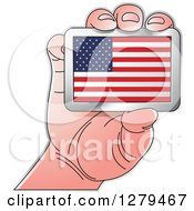Clipart Of A Caucasian Hand Holding An American Flag Royalty Free Vector Illustration by Lal Perera