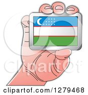 Clipart Of A Caucasian Hand Holding A Uzbekistan Flag Royalty Free Vector Illustration