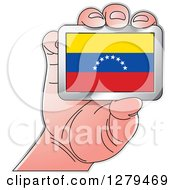 Clipart Of A Caucasian Hand Holding A Venezuela Flag Royalty Free Vector Illustration
